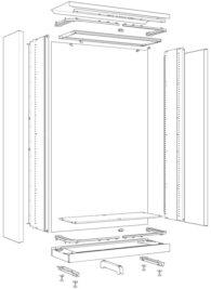 Vue éclatée d'une armoire métallique de bureau à rideaux