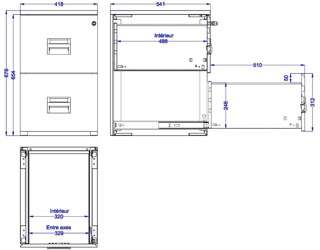 Toutes les dimensions utiles du classeur à 2 tiroirs