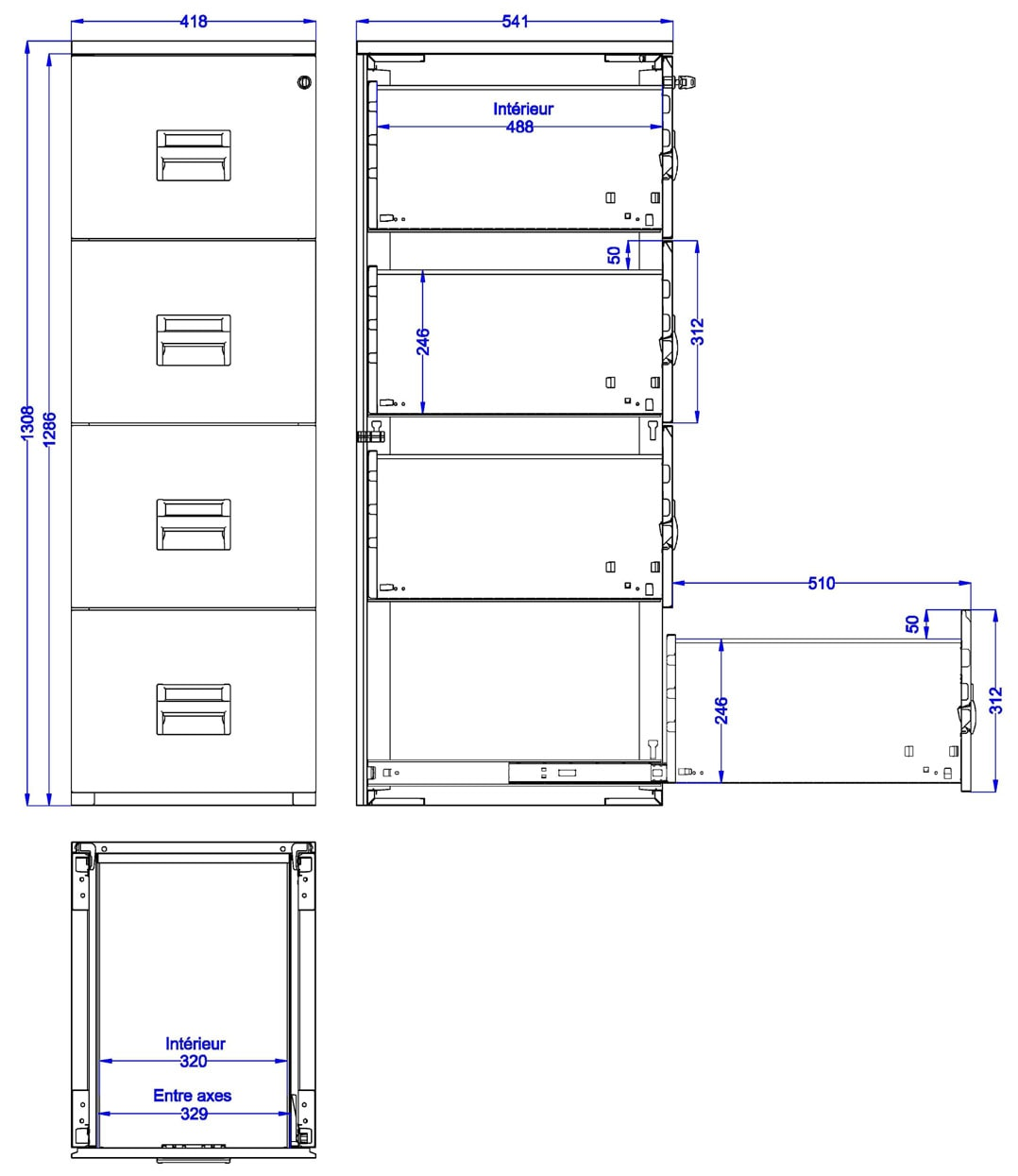 classeur 4 tiroirs m tal dossiers suspendus armoire plus. Black Bedroom Furniture Sets. Home Design Ideas