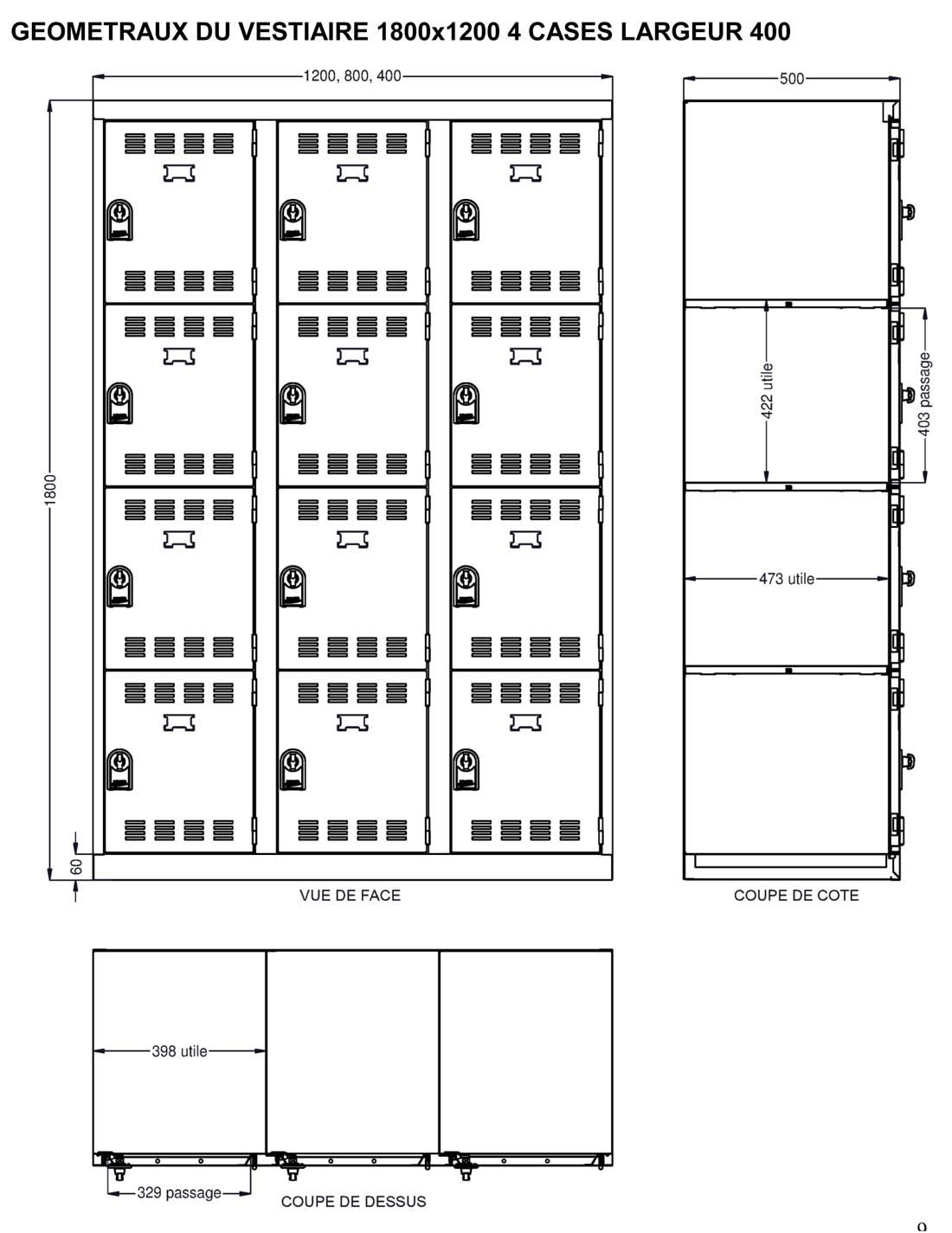 Dimensions utiles du vestiaire 4 cases