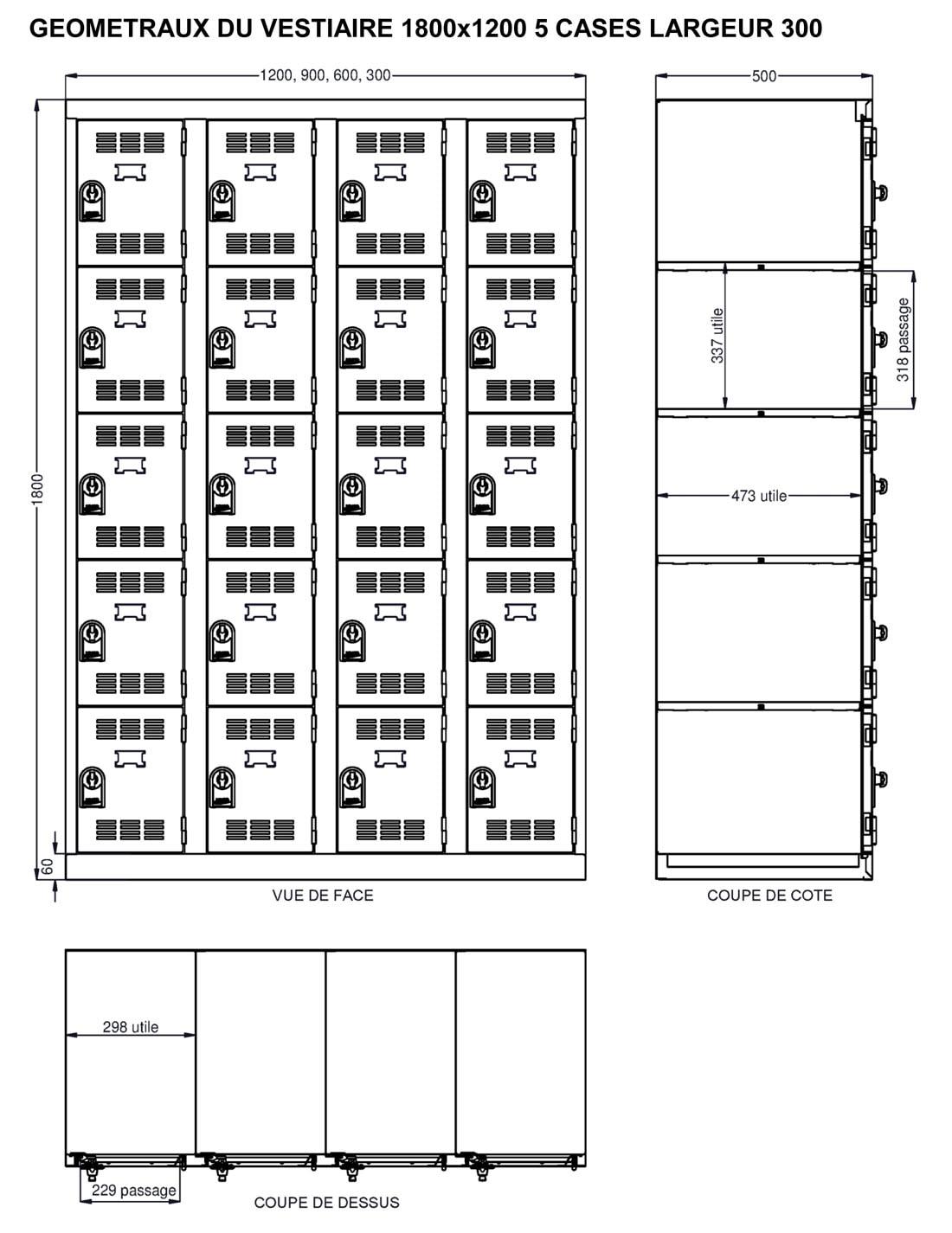 Dimensions utiles du vestiaire 5 cases