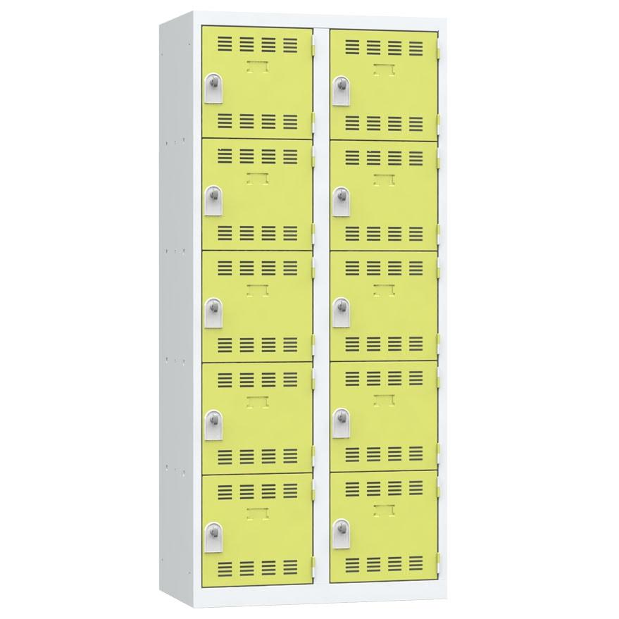 Vestiaire 5 cases 2 colonnes Largeur 400 couleur Anis