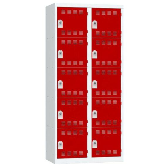 Vestiaire 5 cases 2 colonnes Largeur 400 portes Rouges