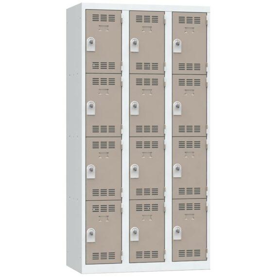 Vestiaire 4 cases 3 colonnes Largeur 300 coloris Taupe