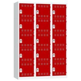 Vestiaire 5 cases 3 colonnes Largeur 400 couleur Rouge