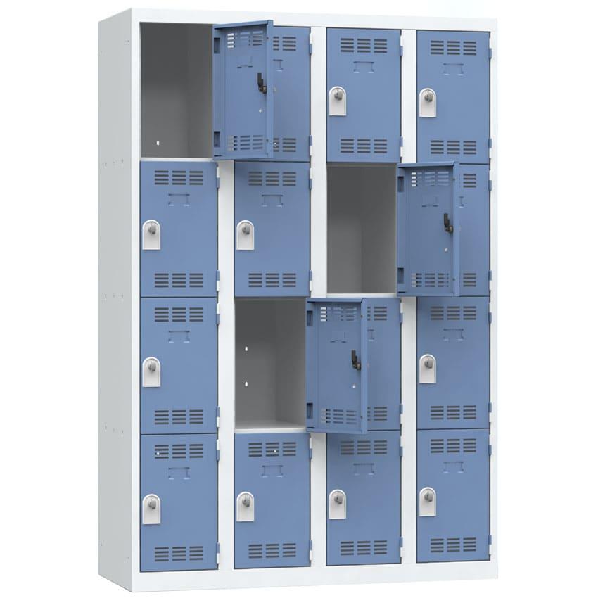 vestiaire multicases 16 casiers largeur 1200 coloris bleu vestiaire 16 cases