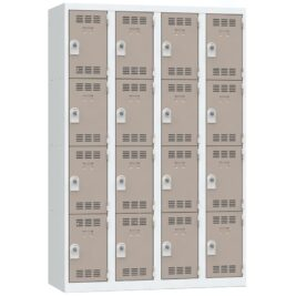 Vestiaire 16 cases 4 colonnes Largeur 300 coloris Taupe