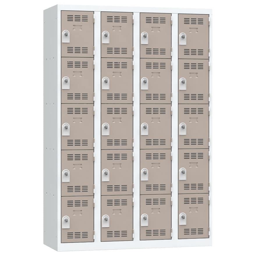 Vestiaire 5 cases 4 colonnes Largeur 300 coloris Taupe