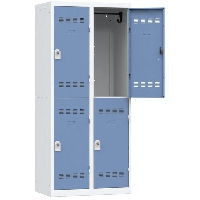 Vestiaire sport 4 casiers Largeur 800 coloris Bleu