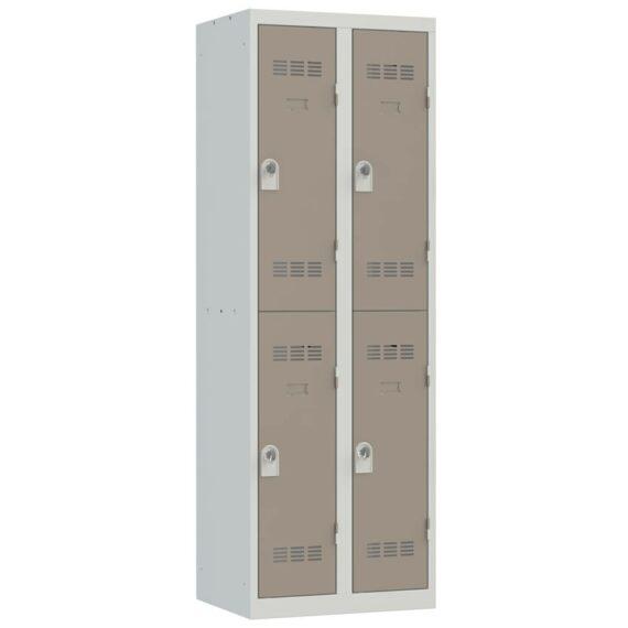 Vestiaire sport 2 cases 2 colonnes Largeur 300 coloris Taupe