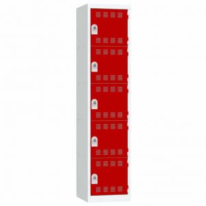 Vestiaire 5 cases Largeur 400 portes Rouges