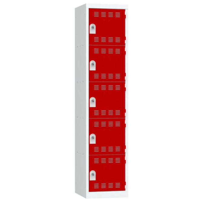Vestiaire 5 cases Largeur 400 portes Rouges