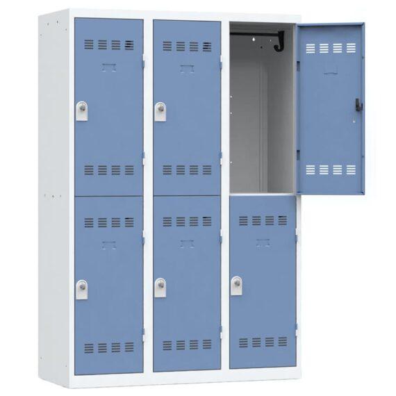 Vestiaire sport 6 casiers Largeur 1200 coloris Bleu