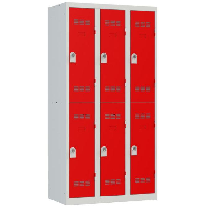 Vestiaire sport 6 cases Largeur 900 coloris Rouge