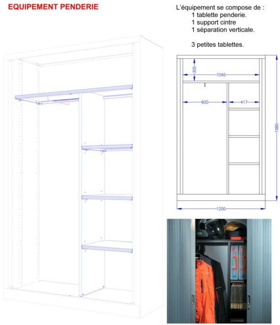 Vu détaillée de l'armoire mixte série A