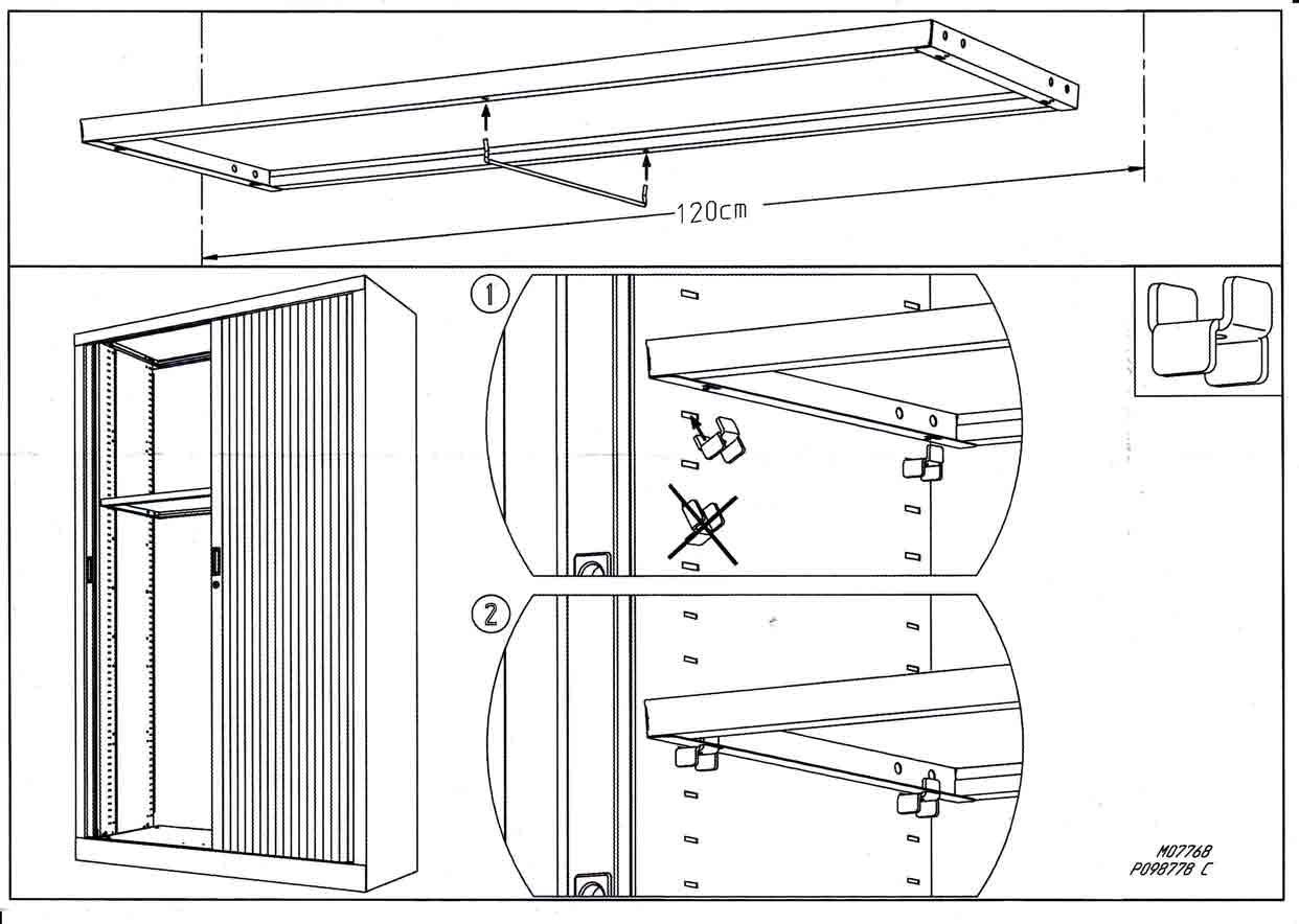 Plan de mise en place des taquets métalliques