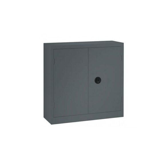 Une armoire de bureau à portes battantes coloris anthracite 100 x 100