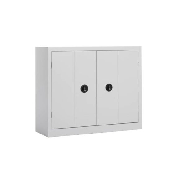 Une armoire basse à portes pliantes coloris Gris clair