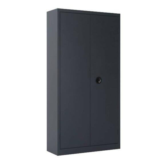 Une armoire à portes battantes H180 x L90 coloris anthracite