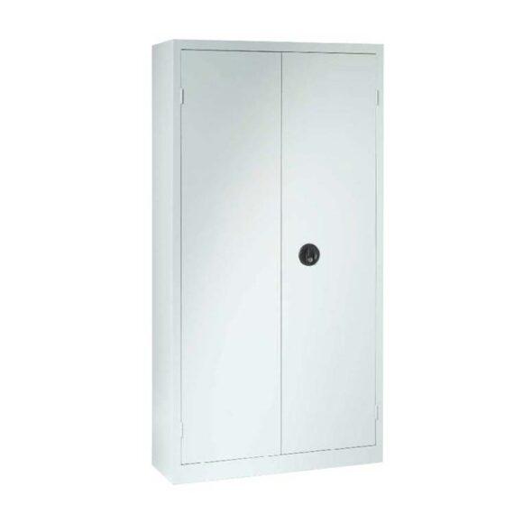Une armoire à portes battantes H180 x L90 coloris gris clair