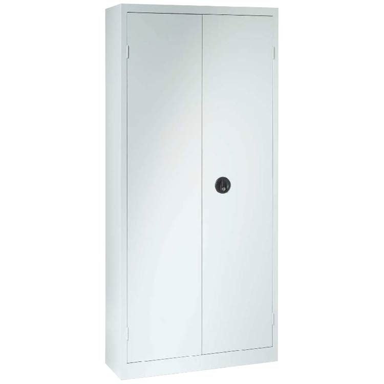 Une armoire à portes battantes H198 x L90 coloris gris clair