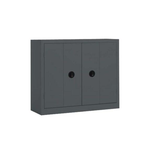 Une armoire basse à portes pliantes coloris Anthracite