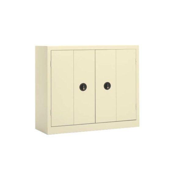 Une armoire basse à portes pliantes coloris Beige