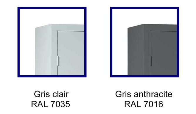 Nuancier des armoires de bureau PP / PB : Beige, Gris clair, Noir ou anthracite