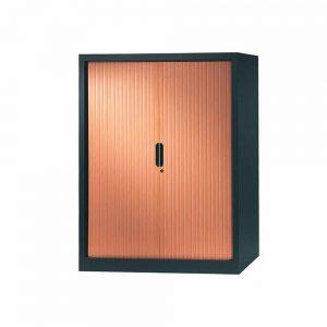 armoire a rideaux 136x120 anthracite merisier