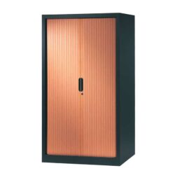 armoire a rideaux 160x100 anthracite merisier