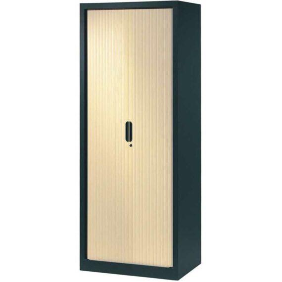 armoire a rideaux 198x80 anthracite erable