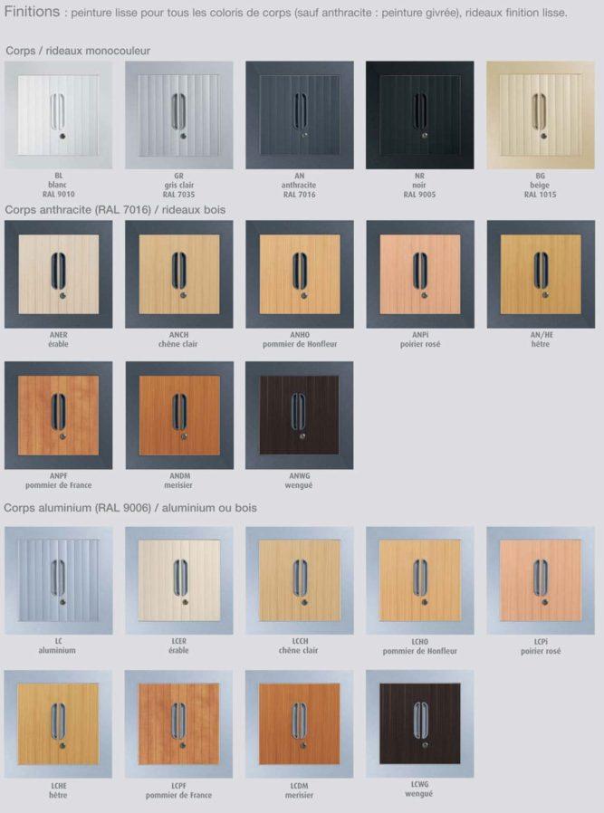 liste des coloris pour armoire a rideaux design
