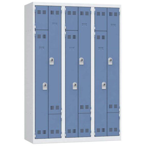 vestiaire gain de place en l 6 cases bleu