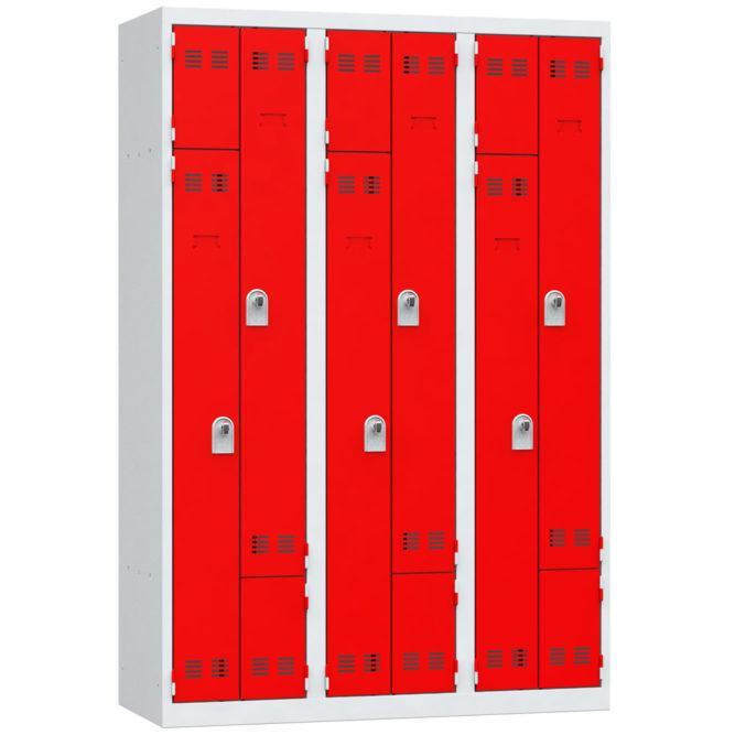 vestiaire gain de place en l 6 cases rouge