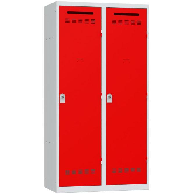 vestiaire pompier 2 cases rouge