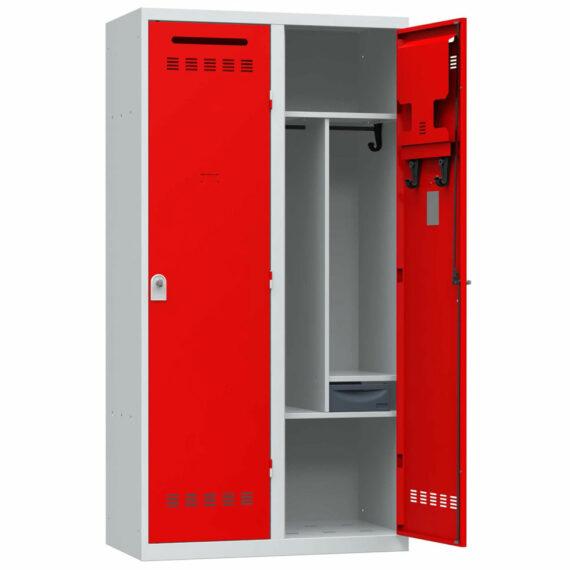 vestiaire pompier 2 cases avec porte ouverte