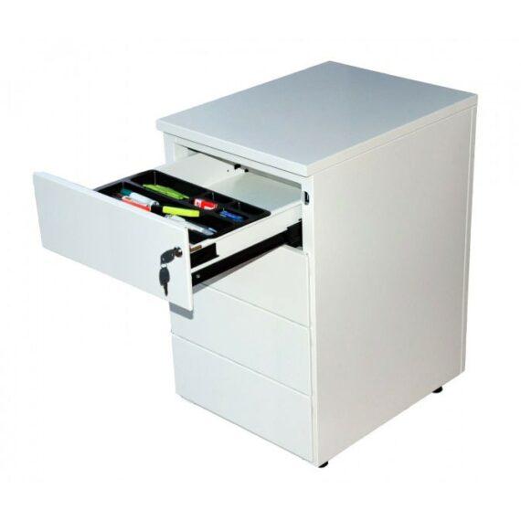 caissons de bureau 4 tiroirs blanc avec 1 tiroir ouvert