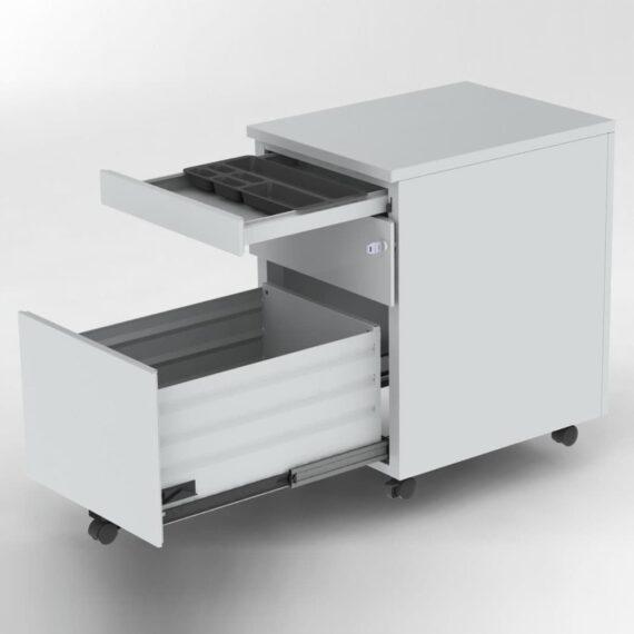 caisson-mobile-2-tiroirs-gris-tirette-plumier