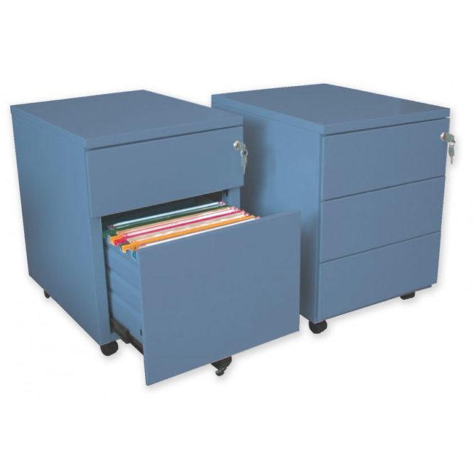 caisson mobile metallique bleu