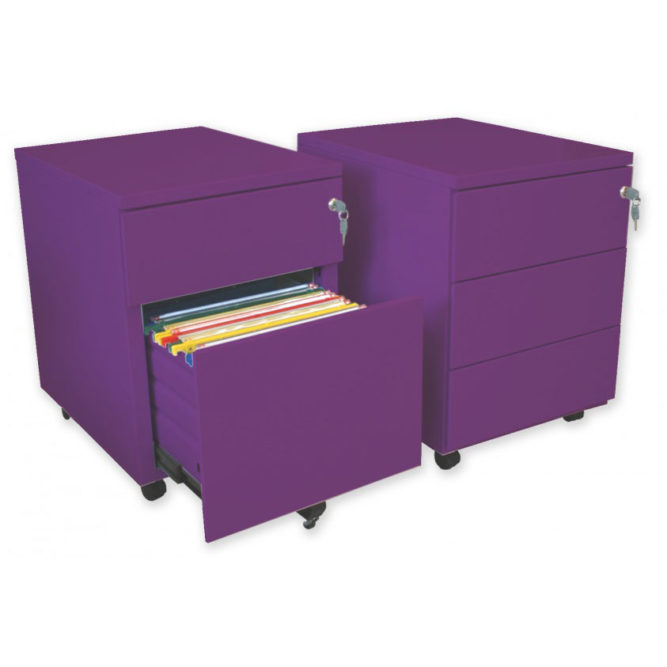 caisson mobile metallique couleur prune