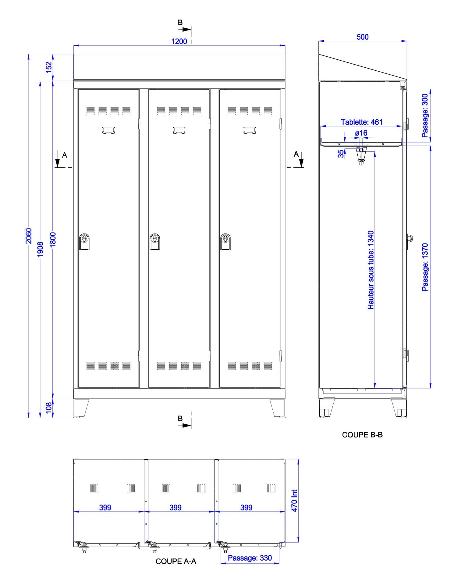 Vestiaire Industrie Propre 1 Case 40cm Armoire Plus