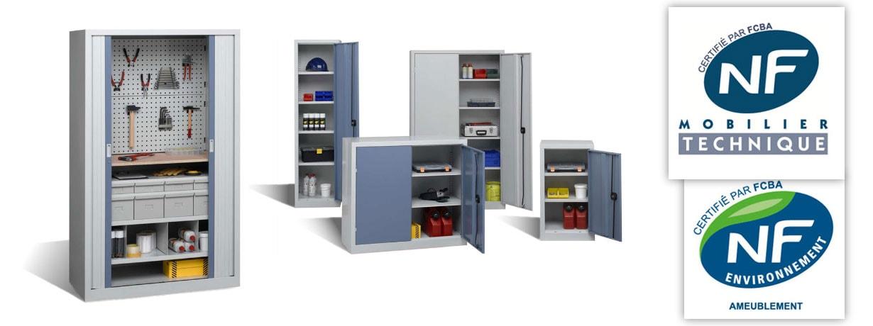 Armoires d'atelier metalliques de tailles variees