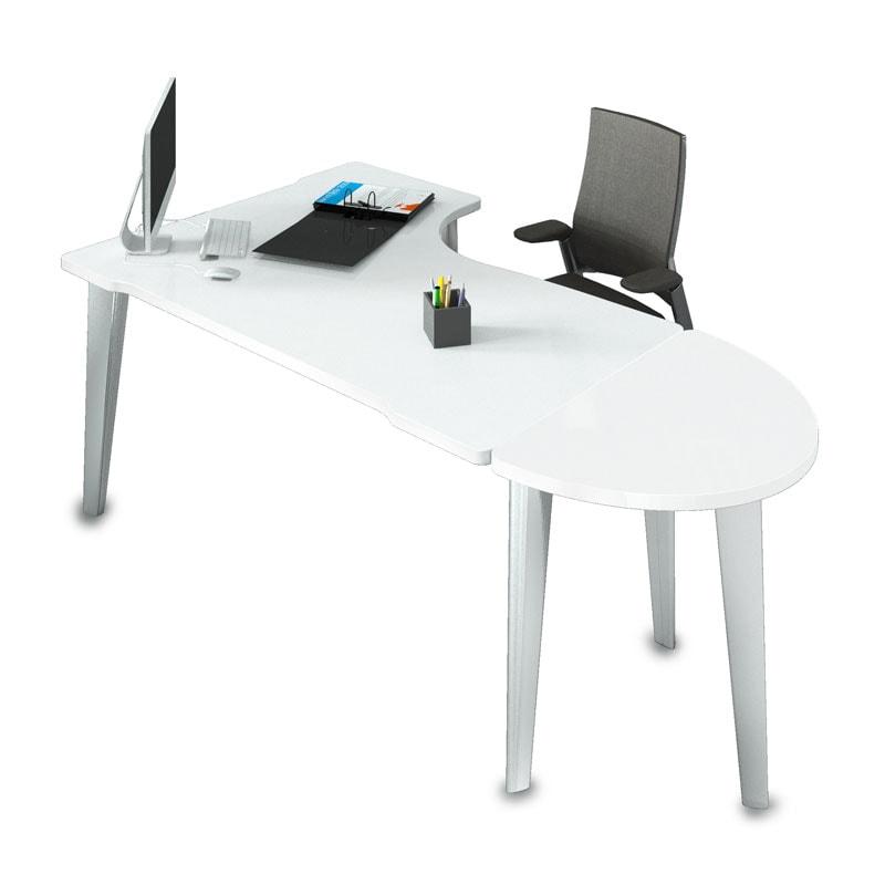bureau compact blanc avec demi lune
