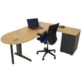 bureau compact asymetrique anthracite hetre avec caisson
