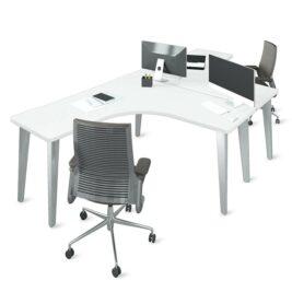 ensemble de 2 bureaux symetriques blancs
