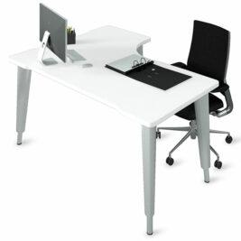 bureau compact asymetrique aluminium blanc