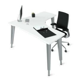 bureau compact symetrique aluminium blanc