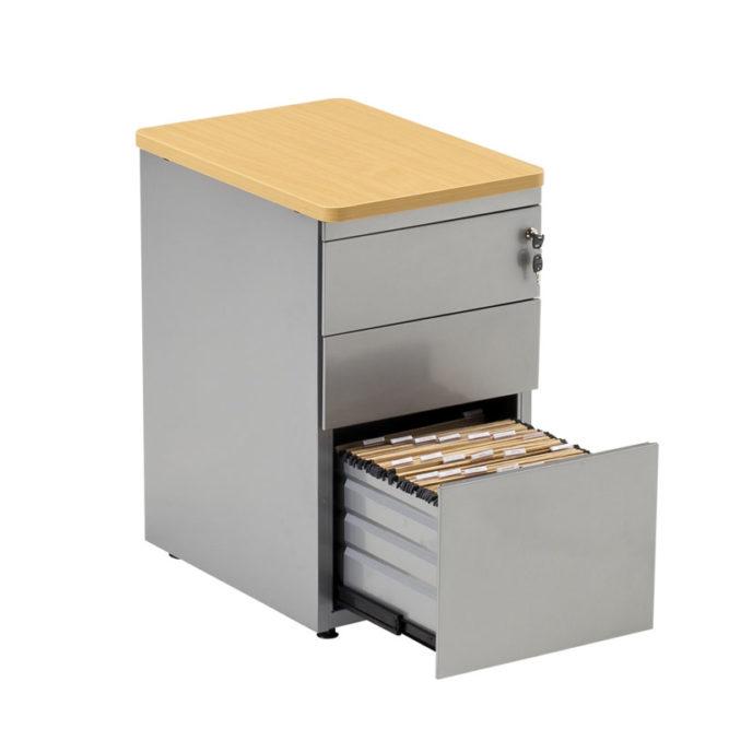 caisson de bureau aluminium here avec un tiroir ouvert