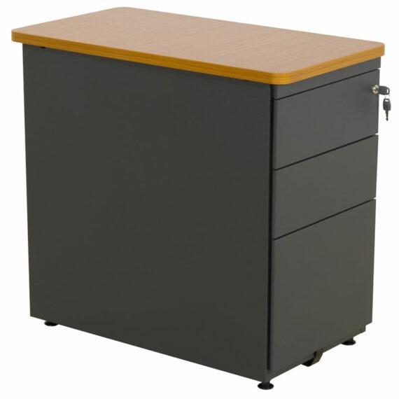 caisson de bureau anthracite merisier