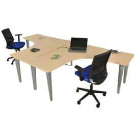 ensemble-de-2-bureau-symetrique-bench-elegance-aluminium-chene-clair